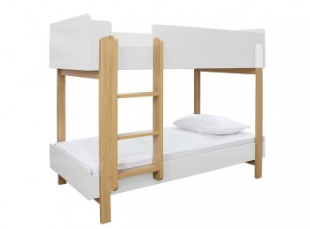 LPD Hero Wooden Bunk Bed In White And Oak