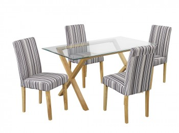 LPD Cadiz Glass And Oak Dining Table With 4 Lorenzo Chairs