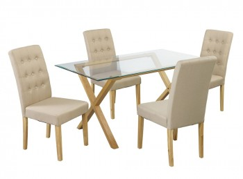 LPD Cadiz Glass And Oak Dining Table With 4 Roma Beige Chairs