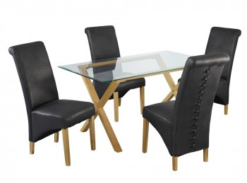 LPD Cadiz Glass And Oak Dining Table With 4 Treviso Black Chairs
