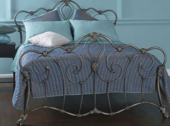 OBC Athalone 4ft 6 Double Silver Patina Metal Headboard