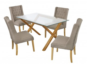 LPD Cadiz Glass And Oak Dining Table With 4 Verona Beige Chairs