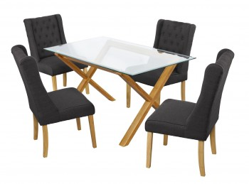 LPD Cadiz Glass And Oak Dining Table With 4 Verona Charcoal Chairs