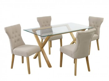 LPD Cadiz Glass And Oak Dining Table With 4 Naples Beige Chairs