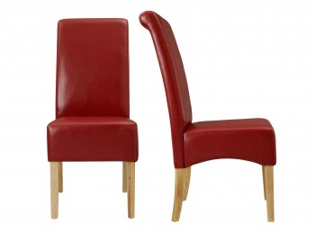 LPD Padstow Pair Of Red Faux Leather Dining Chairs