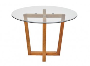 LPD Valencia Glass And Oak Finish Dining Table