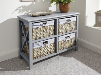 GFW Padstow Low 2 Pus 2 Drawer Chest in Grey