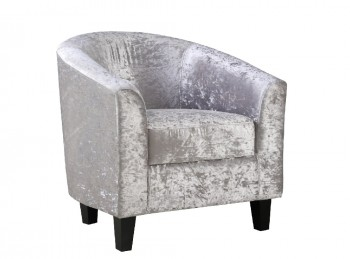 LPD Silver Velvet Fabric Tub Chair