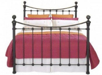 OBC Selkirk 4ft 6 Double Solo Satin Black Metal Headboard