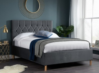 Birlea Loxley 5ft Kingsize Grey Fabric Bed Frame