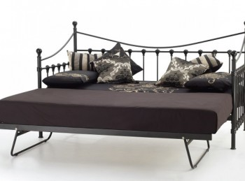 Serene Marseilles 3ft Single Black Metal Day Bed Frame with Under Bed
