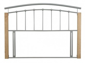 STORE CLEARANCE Serene Tetras 4ft6 Double Silver Metal Headboard