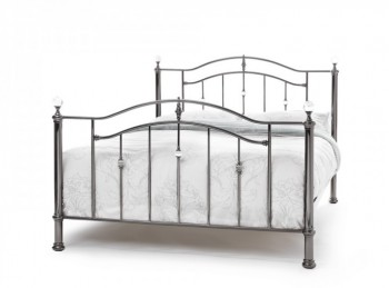Serene Ashley 4ft6 Double Black Nickel Metal Bed Frame with Crystals