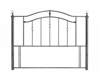 Serene Ashley 4ft Small Double Black Nickel Metal Headboard with Crystals