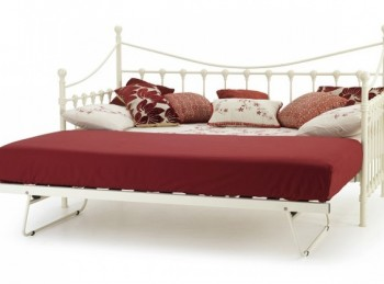 Serene Marseilles 3ft Single Ivory Metal Day Bed Frame with Under Bed
