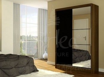 Birlea Lynx Walnut with Black Gloss Sliding Door Wardrobe with Mirror