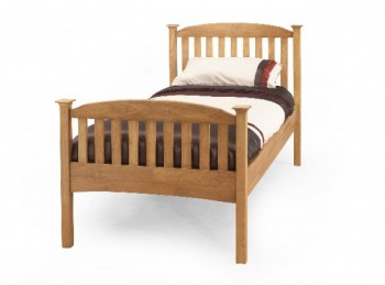 Serene Eleanor 3ft Single Oak Finish Wooden Bed Frame with High Footend