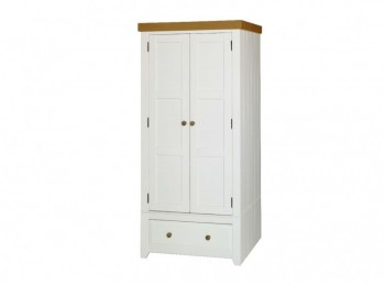 Core Capri White 2 Door 1 Drawer Wardrobe