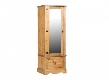 Core Corona Pine Single Mirror Door Wardrobe