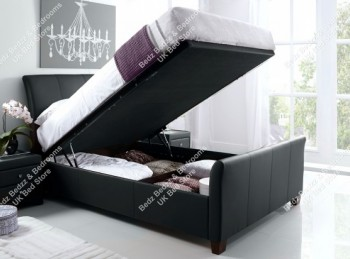 Kaydian Allendale 4ft6 Double Black Leather Ottoman Storage Bed