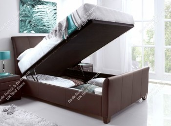 Kaydian Allendale 5ft Kingsize Brown Leather Ottoman Storage Bed