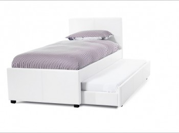 Serene Carra 3ft Single White Faux Leather Guest Bed