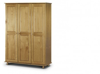 Julian Bowen Pickwick Pine Wooden 3 Door Wardrobe