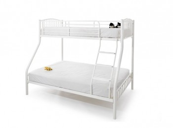 Serene Oslo Triple Sleeper White Metal Bunk Bed