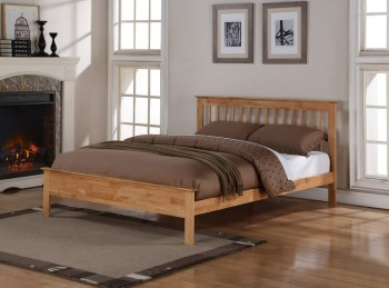 Flintshire Pentre 4ft6 Double Oak Finish Bed