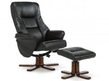 Serene Drammen Black Faux Leather Recliner Chair (With Massage Option)
