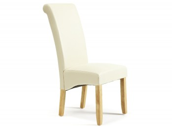 Serene Kingston Cream Faux Leather Dining Chairs With Oak Legs (Pair)