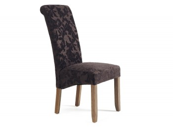 Serene Kingston Aubergine Floral Fabric Dining Chairs With Walnut Legs (Pair)