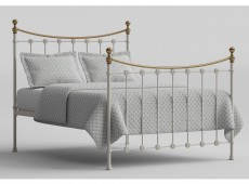 OBC Carrick 6ft Super Kingsize White With Brass Metal Headboard