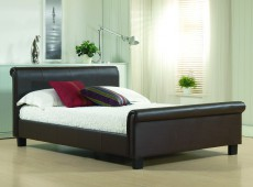Time Living Aurora 4ft6 Double Brown REAL LEATHER Bed Frame