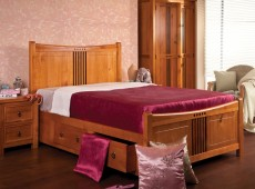 Sweet Dreams Curlew 4ft6 Double Bed Frame with Under Bed Drawers in Oak