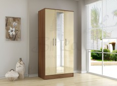 Birlea Lynx Walnut with Cream Gloss 3 Door Wardrobe with Center Mirror