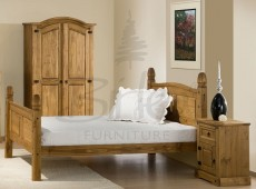 Birlea Corona 4ft6 Double Pine Bed Frame with High Footend