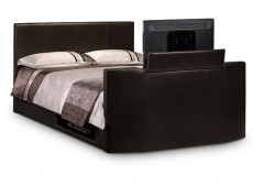 Julian Bowen Optika 4ft6 Double Brown Faux Leather TV Bed Frame