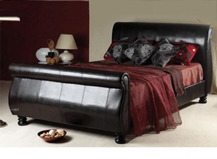 Sweet dreams mandarin 5ft kingsize brown faux leather bed for Dreams headboards