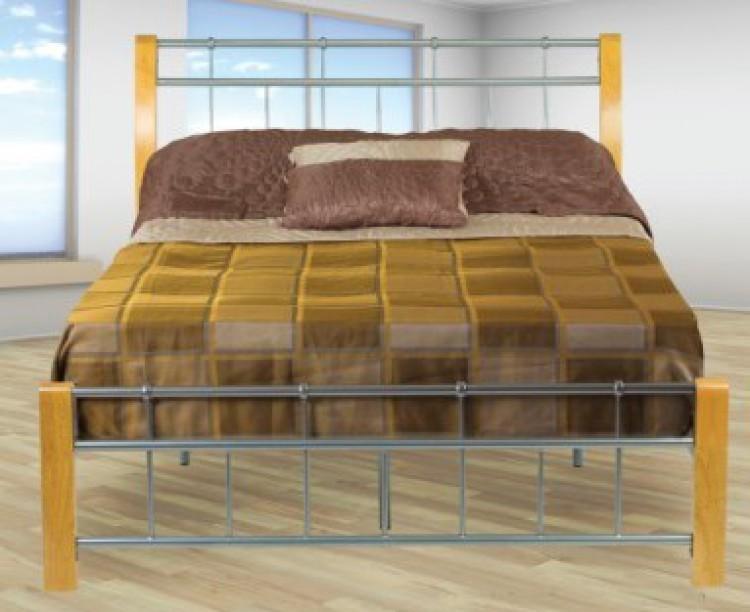 Sweet Dreams Sandpiper 5ft Kingsize Oak Legs Silver Metal Bed Frame