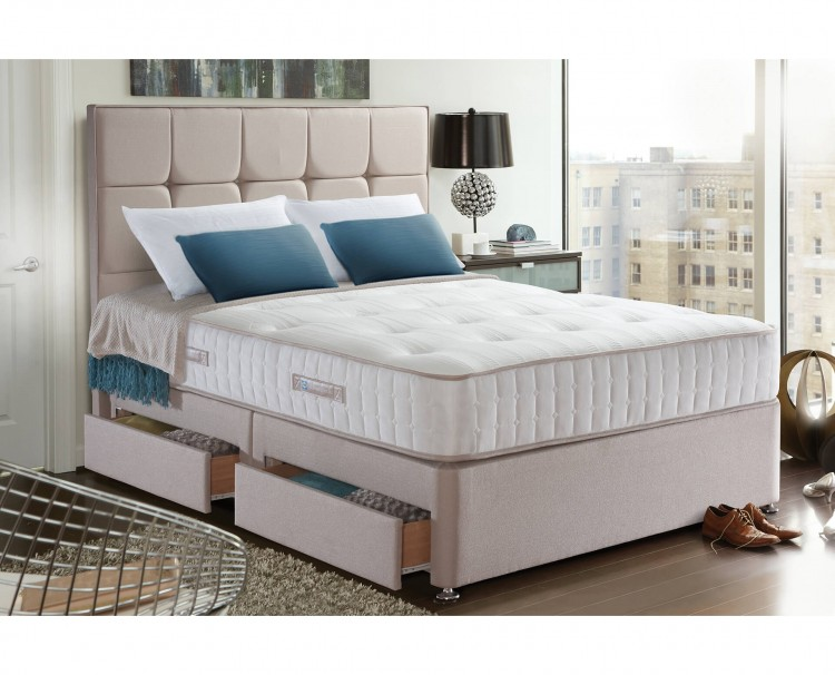 Sealy palermo 1400 pocket 3ft single divan bed by sealy for 3 foot divan bed