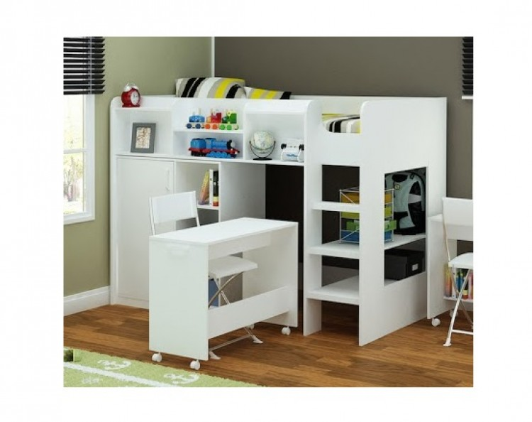 flair furnishings wizard junior white high sleeper 10770 | 10770 flair furnishings wizard junior white high sleeper workstation