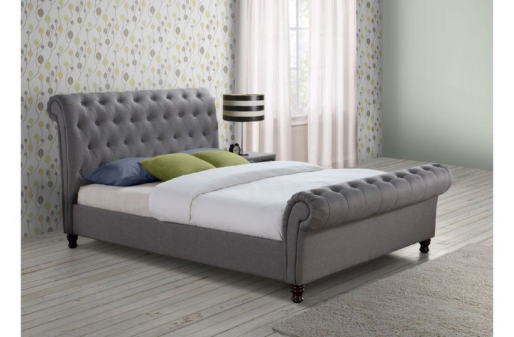 birlea castello 5ft kingsize grey fabric bed frame by birlea. Black Bedroom Furniture Sets. Home Design Ideas