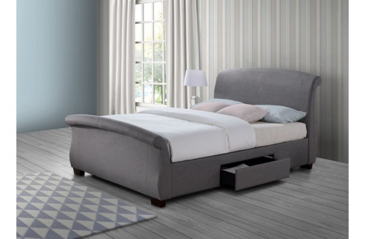Birlea Barcelona 5ft Kingsize Grey Fabric Bed Frame with 2 Drawers ...