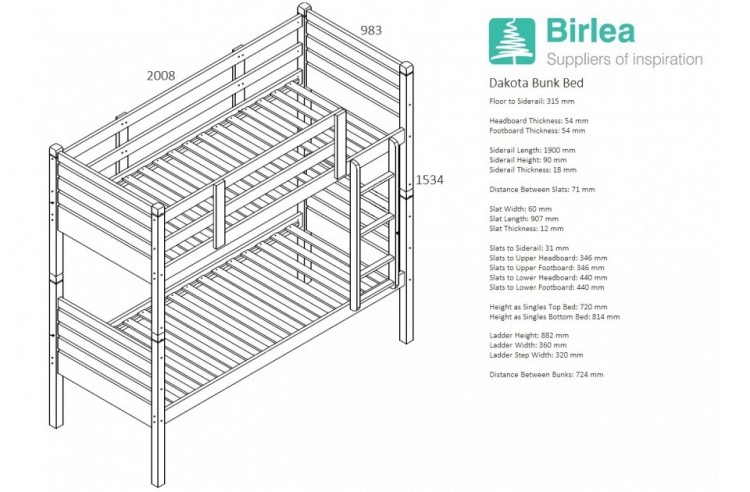 Birlea Dakota 3ft Single Grey Wooden Bunk Bed By Birlea