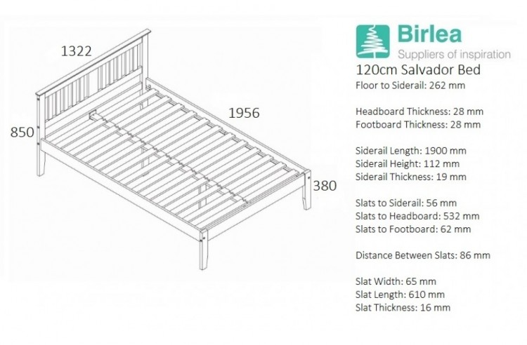 Birlea Salvador 4ft Small Double White Wash Wooden Bed Frame By Birlea