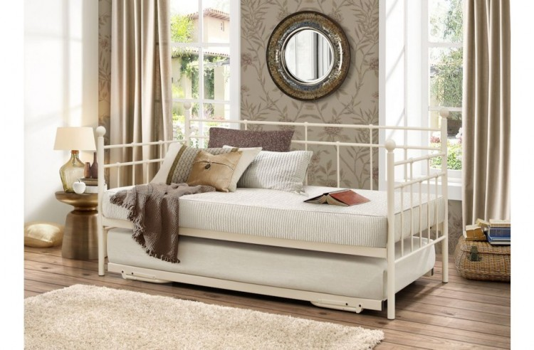 Birlea Lyon 3ft Single Cream Metal Day Beds With Trundle