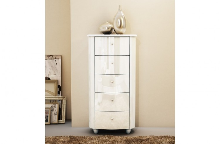 Birlea Aztec White Gloss 5 Drawer Narrow Chest By Birlea