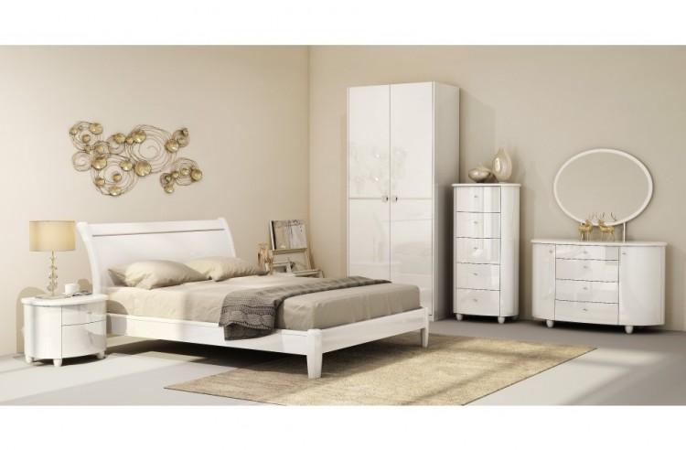 Birlea Aztec White 4ft6 Double High Gloss Bed Frame by Birlea