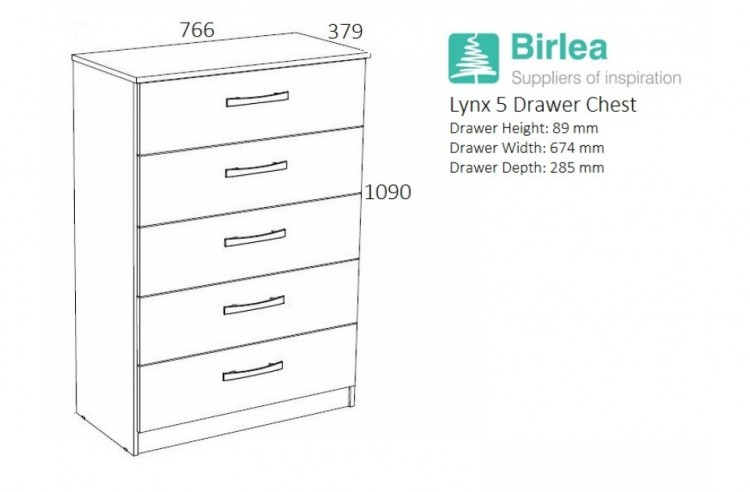 Birlea Lynx Black with White Gloss 5 Drawer Chest of Drawers by Birlea